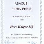 Ethik-Preis für ABACUS Nachhilfe in Hamburg NordOst und Stormarn