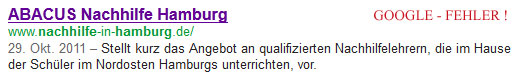 Google-Fehler: ABACUS Nachhilfe Hamburg